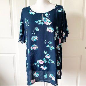 Van Heusem Blue Floral Blouse Size XL